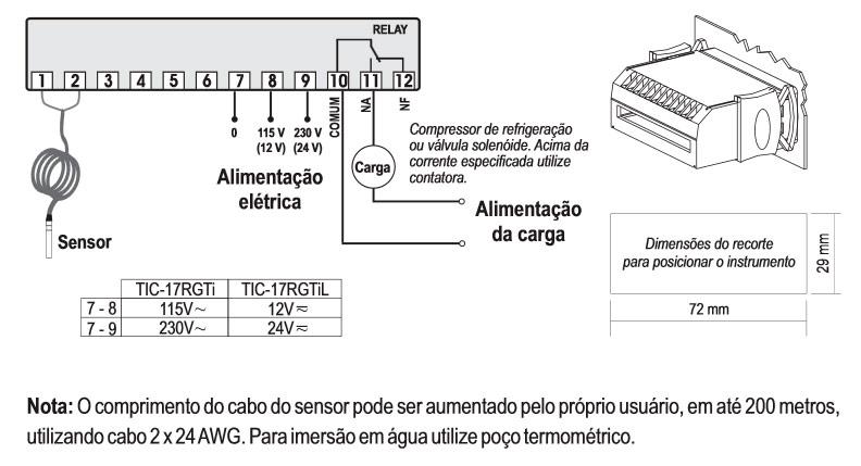 Esquema de ligação do Termostato TIC-17