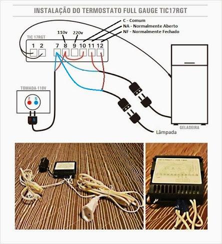 Esquema de Ligação Tic17 com uma geladeira e lâmpada